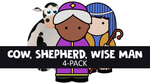 Cow, Shepherd, Wise Man 4-Pack