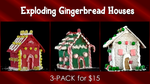 Exploding Gingerbread Houses 3-Pack