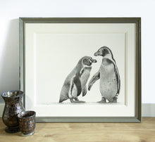Load image into Gallery viewer, Penguins wildlife art print, giclee print birds, arctic animals