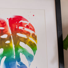 Load image into Gallery viewer, Rainbow monstera leaf print, plant art, pride giclee multi colour rainbow wall art