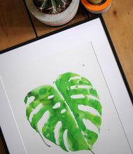 Load image into Gallery viewer, Monstera plant print ink splash house plant giclee wall art