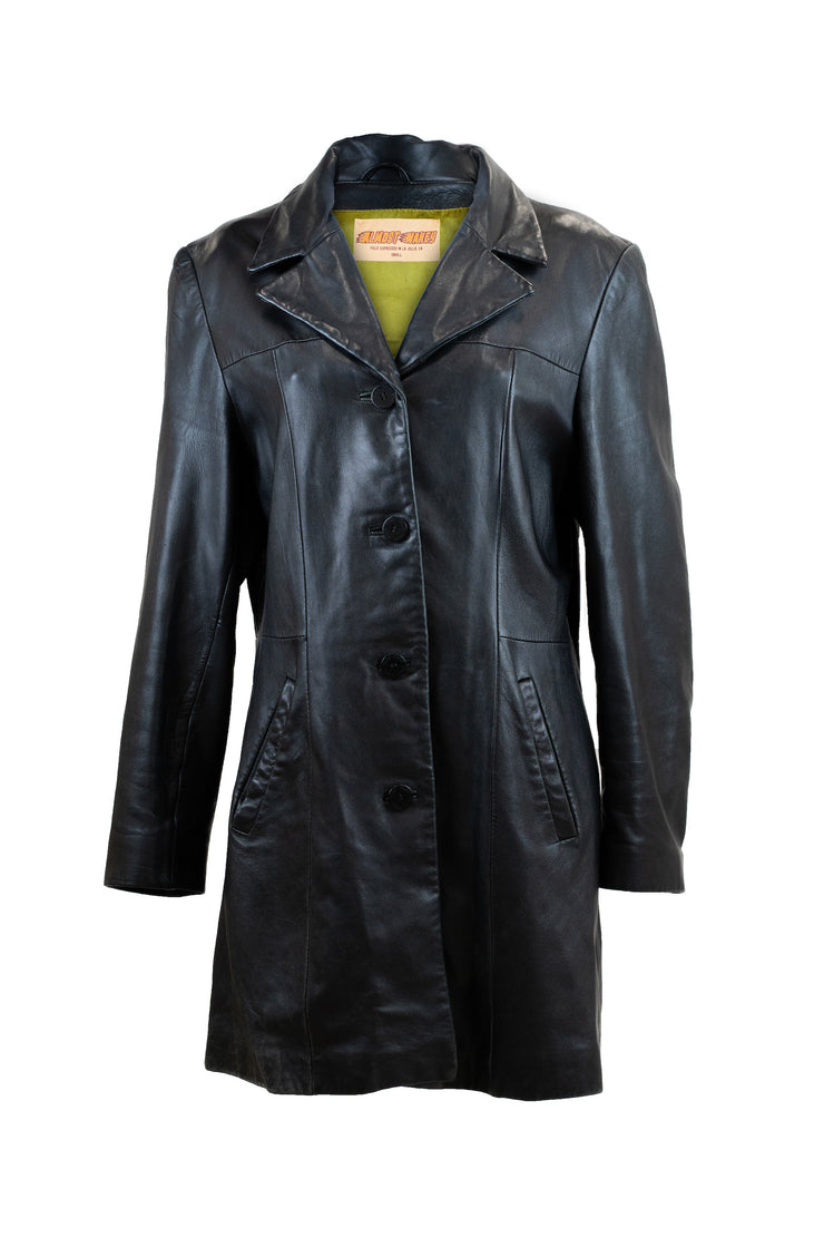 "The ""Black Crystal Stallion"" Leather Trench"