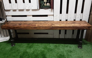 Large industrial reclaimed chunky timber and steel bench