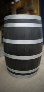 Black out vintage solid oak whisky barrel with iron bands