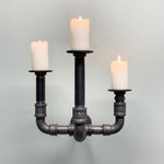 Industrial Style Wall Mounted SteamPunk Candle Holder, 3 Post