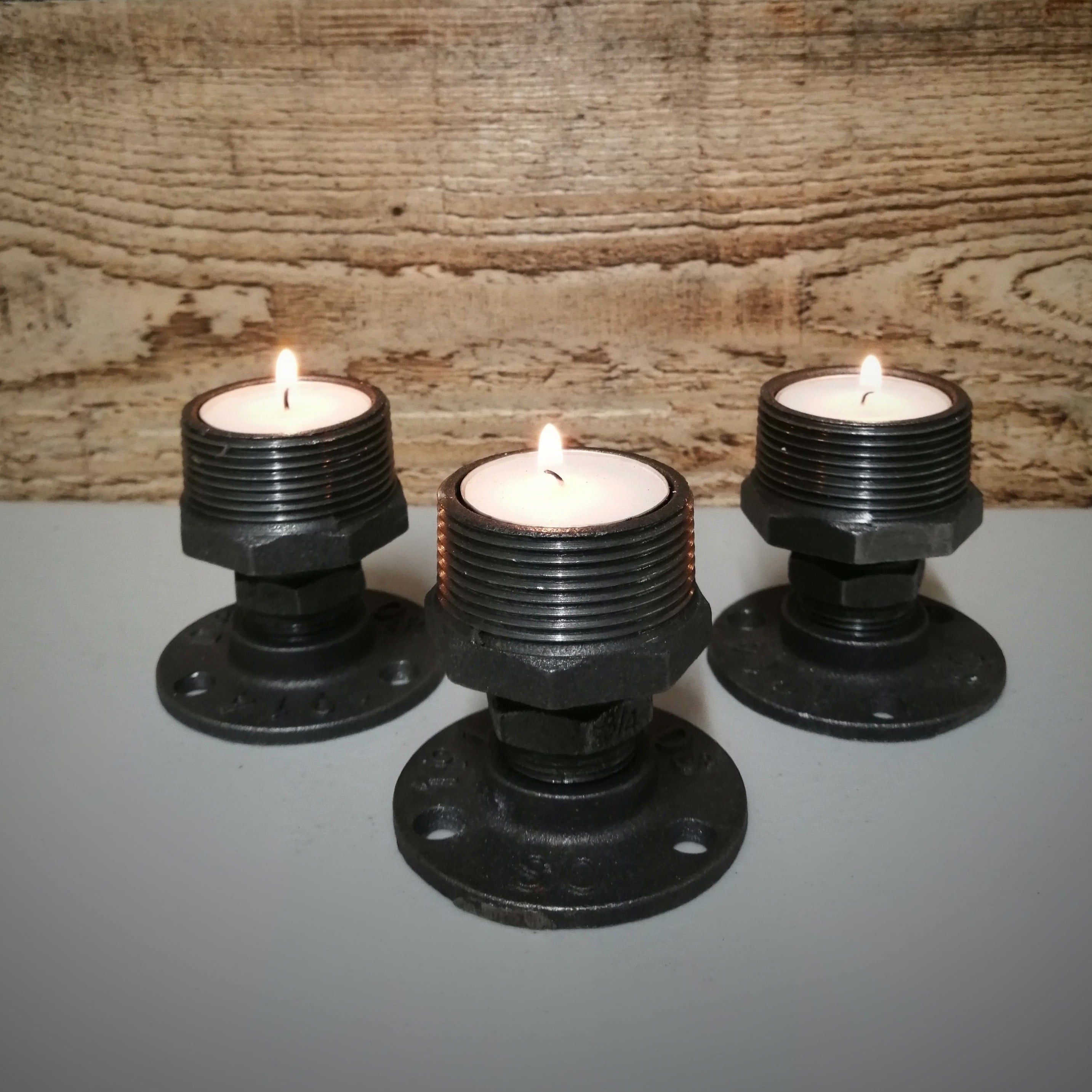 Industrial Style SteamPunk Tea Candle Holders, Set of 3