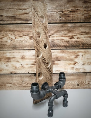 Handmade Bespoke Timber and Steampunk Bottle Holder, 40-45mm Holes