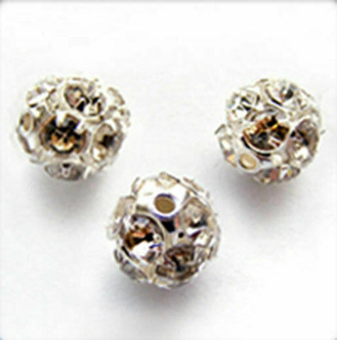 Jewelry Beads 4pcs Silver-plated Rhinestone Round 10mm CRYSTAL B2152