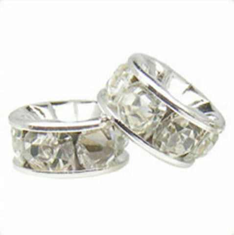 100pcs Silver-plated Rhinestone Rondelle Beads *Many Sizes* *Many Colours*