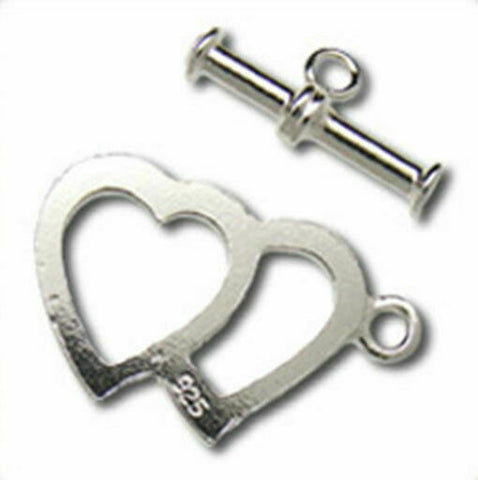 925 Sterling Silver Double Heart Clasp 13x21mm H199