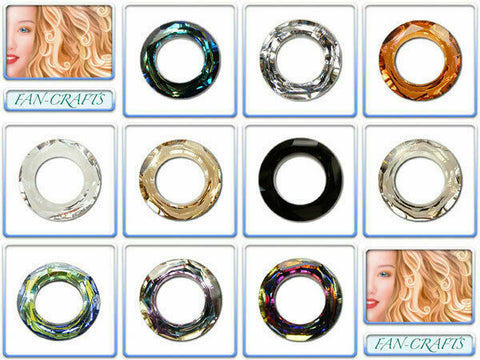 Swarovski Crystal Pendant 4139 Cosmic Ring 14mm & 20mm *Many Colours*
