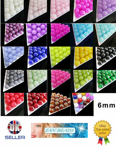 Cute Crystal Beads Round Shape 4mm & 6mm Various Colours