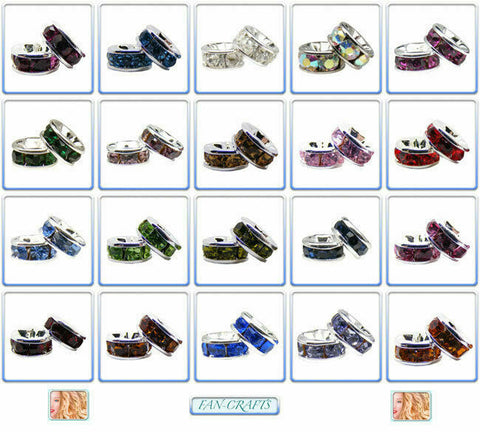10pcs Silver-plated Rhinestone Rondelle Beads 6mm *Many Colours*