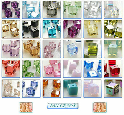4pcs Swarovski Crystal Beads 5601 Cube 8mm * Many Colours *