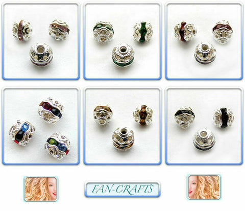 Christmas Jewelry Beads 10pcs Silver-plated Rhinestone Round 6mm *Many Colours *
