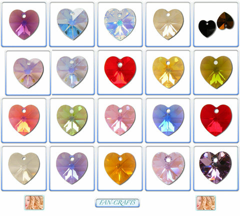 Swarovski Crystal Pendants 6202 & 6228 Heart 10x10.3mm *Many AB Colours*