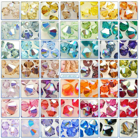 Genuine SWAROVSKI 5328 Xilion Bicone Beads * Many Sizes & Colours AB 2X Effects