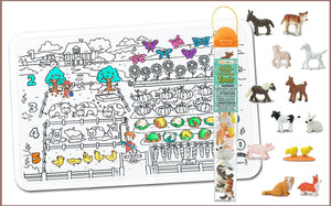 Colour Me Mats x Safari Ltd - 123 Counting Farm Toob Bundle - Reusable Silicone Colouring Mats