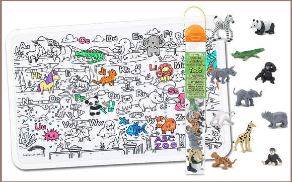 Colour Me Mats x Safari Ltd - ABC Alphabet Zoo Toob Bundle - Reusable Silicone Colouring Mats
