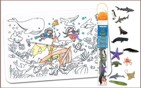 Colour Me Mats x Safari Ltd - Deep Blue Sea Toob Bundle - Reusable Silicone Colouring Mats