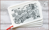 Colour Me Puzzle Mats - Emergency & Construction Vehicles - Reusable Silicone Colouring Mats