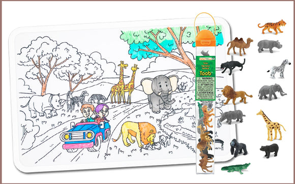 Colour Me Mats x Safari Ltd - Safari Adventure Toob Bundle - Reusable Silicone Colouring Mats