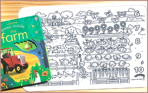 Colour Me Mats Book Bundle - 123 Counting Farm - Reusable Silicone Colouring Mats