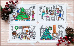 Colour Me Mats Christmas Collection - Christmas Family Traditions - Reusable Silicone Colouring Mats