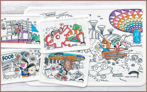 Timmy & Tammy X Colour Me Mats - Duo Pack (Around Our Island & Around Our Neighbourhood) - Reusable Silicone Colouring Mats