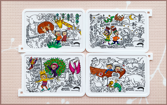 Timmy & Tammy X Colour Me Mats - Exploring our Four Wildlife Parks - Reusable Silicone Colouring Mats