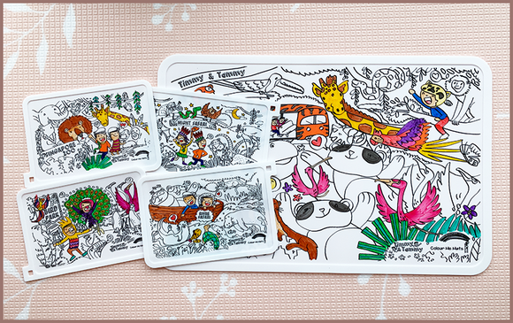 Timmy & Tammy X Colour Me Mats - Duo Pack (Rediscovering our Wildlife Reserves & Exploring our Four Wildlife Parks) - Reusable Silicone Colouring Mats