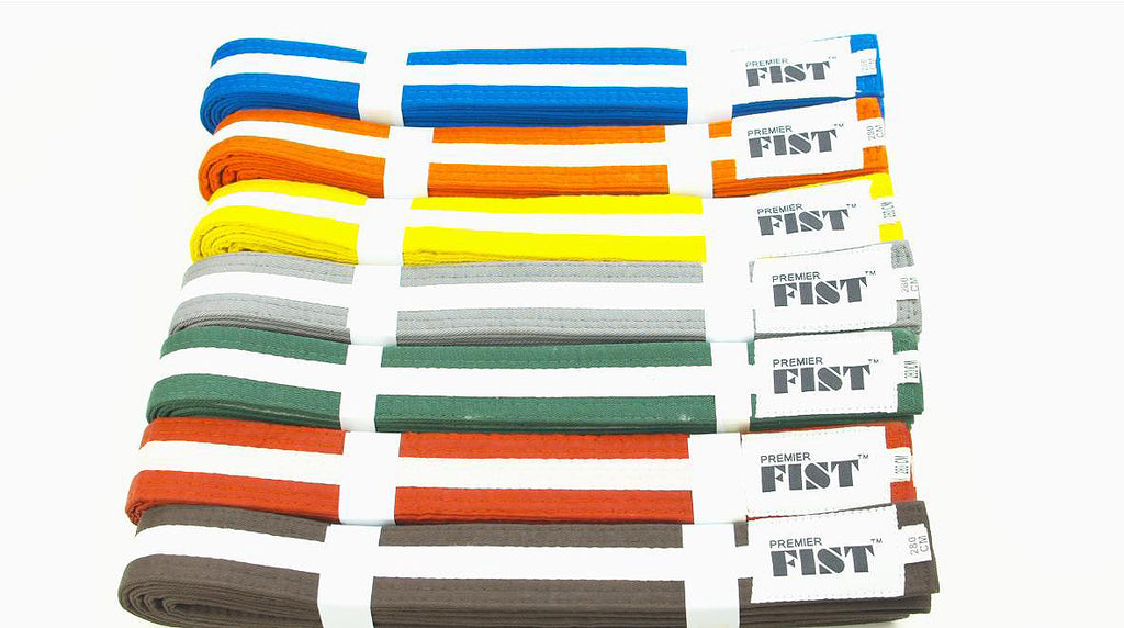 White Stripe Coloured Belts