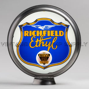"Richfield Ethyl 15"" Gas Pump Globe with Steel Body"
