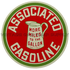 "12"" Associated Gasoline Water Transfer Decal"