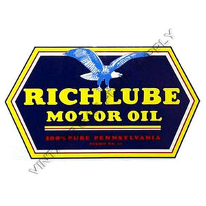 "5.25""x9"" Richlube Motor Oil Water Transfer Decal"