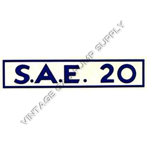 S.A.E. 20 Water Transfer Decal