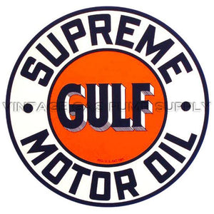 "9"" Gulf Supreme Motor Oil Water Transfer Decal"