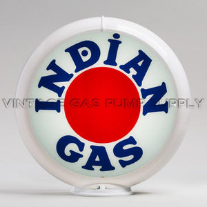 "Indian ""Bullseye"" 13.5"" Gas Pump Globe with White Plastic Body"