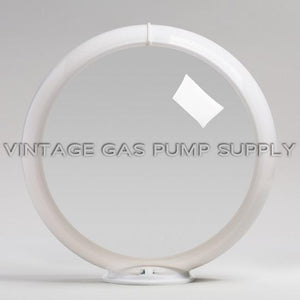"Clear 13.5"" Gas Pump Globe with White Plastic Body"