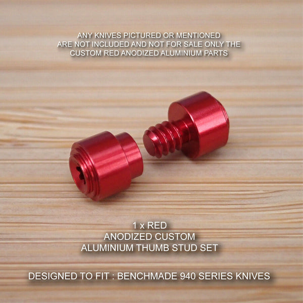 Benchmade 940-1 Osborne Knife 2 pc Custom Designed Thumb Stud Set Anodized RED