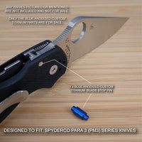 Spyderco Paramilitary Para 3 PM3 Custom BLUE Titanium Blade Stop Pin & Screw Set