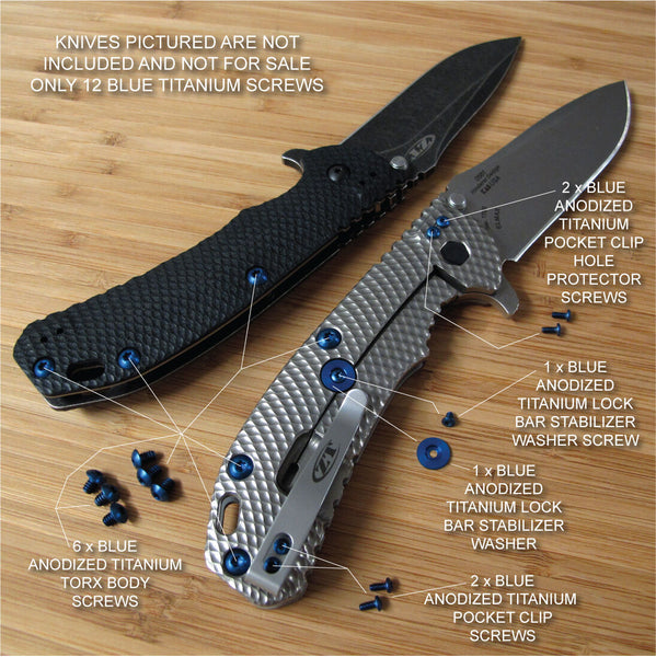 Zero Tolerance ZT0561 560BW ZT Knife 13PC Titanium Screw Set inc LBS Washer BLUE