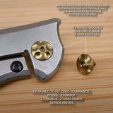 Zero Tolerance ZT0562 ZT 560CF Knife Custom Titanium Pivot Torx Screw Set -BRASS