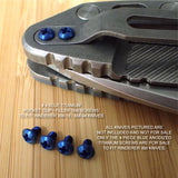 Hinderer Knife XM18 XM24 ZT0392 Pocket Clip & Filler Tab 4PC Titanium Screw Set BLUE