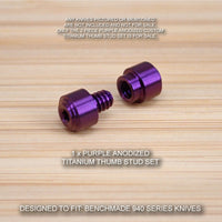 Benchmade 940 Osborne Knife 2 PC Custom Titanium Thumb Stud Set Anodized PURPLE