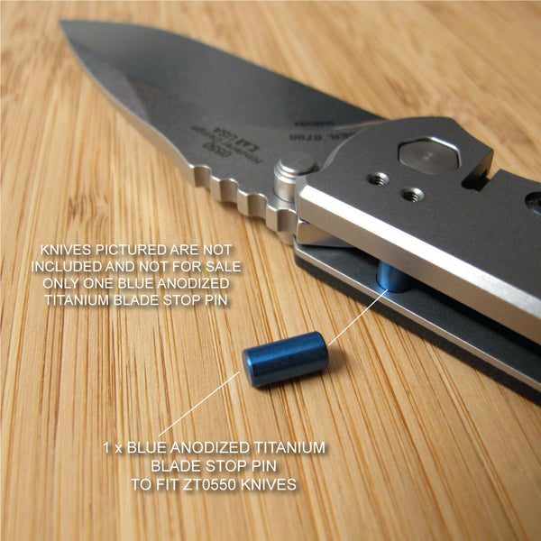 Zero Tolerance ZT0550 550 ZT 550BW Knife Anodized Titanium Blade Stop Pin - BLUE