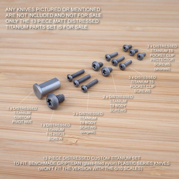 Benchmade 551 550 553 Full Griptilian 13pc Titanium Screw & Pivot Set DISTRESSED