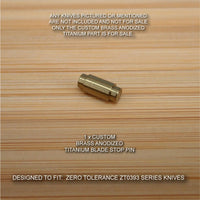 Zero Tolerance ZT0393 ZT 393 0393 BRZ Anodized Titanium Blade Stop Pin - BRASS