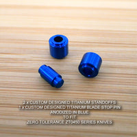 Zero Tolerance ZT0450 450 CF ZT Titanium Ti Blade Stop Pin & Spacer Set - BLUE