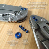 Hinderer Knives XM18 XM24 Custom 5pc Titanium LBS Washer & Screw Set - BLUE